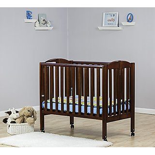 Dream On Me 2 in 1 Folding Birch Portable Crib, Espresso