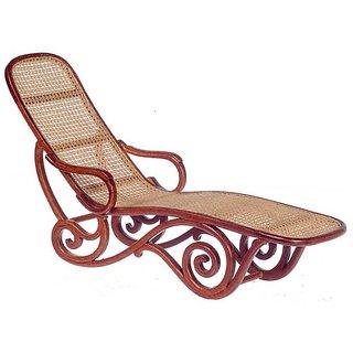 Dollhouse Minature Platium Chaise Lounge Wicker Walnut P6327