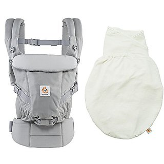 ERGObaby Adapt 3 Position Baby Carrier, Grey Plus Natural Swaddler Size M/L