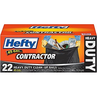 Hefty Contractor Heavy Duty Bags, 45 Gallon, 22 Count