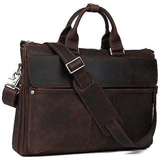 Tiding Mens Crazy horse Leather Business Handbag Tote Shoulder Bag 10966