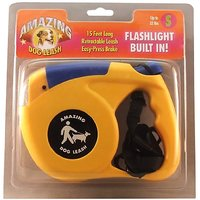 Amazing Flashlight Retactable Leash For Dogs/Cats Up To 22-Pound, Blue And Yellow