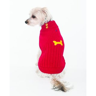 Fashion Pet Lookin Good Button Neck Sweater for Dogs, X-Small, Red