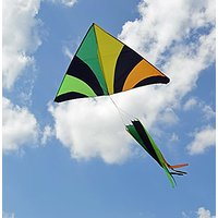 Tropical Rainbow With Spinner Windsock Giant Delta Kite, 40 Meters String, Handle Included, Easy Flyer, Beautiful Colors