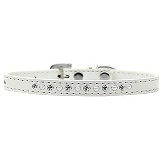 Mirage Pet Products Pearl and Clear Crystal White Puppy Dog Collar, Size 8