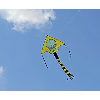 Large Easy Flyer Big Alien Face Kite 7 X 4 Ft With String And Handle, Super Easy To Fly