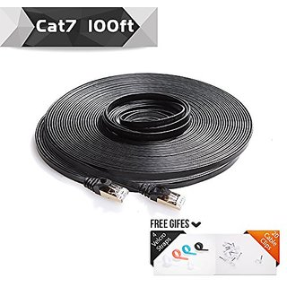 Cat7 Shielded Ethernet Patch Cable 100ft Black( Highest Speed Cable ) Flat Ineternet/ Network Cable with Snagless RJ45 C