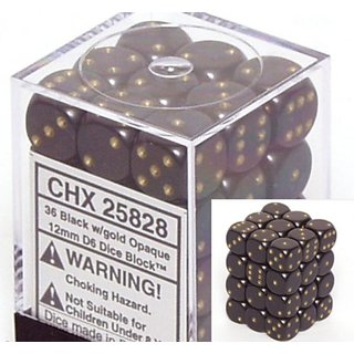 Black with Gold Opaque Dice 12mm D6 Set of 36