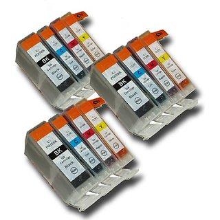 12 Chipped Compatible Canon PGI-5 & CLI-8 Ink Cartridges for Canon Pixma MX700 Printer