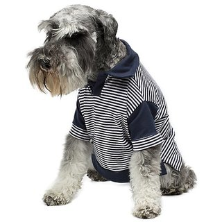Legitimutt Cotton Polo Dog T-Shirt with Pinstripe, Large, Navy