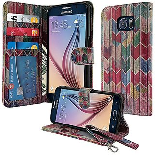 NextKin Samsung Galaxy S6 G920 Leather Pouch Wallet Card With TPU Gel Protector Cover Case - Watercolor Chevron Stained