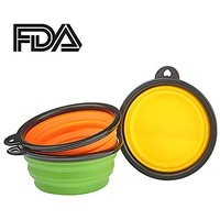 Set Of 3 Portable Collapsible Pop-up Design Silicone Pet Dog Food Water Travel Bowl (3 Bowls (Green+Yellow+Orange))