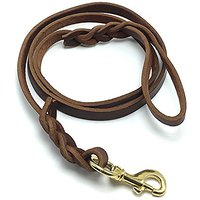 Niubow Braided Genuine Leather Dog Leash For Medium To Large Dogs, Canine (K9) Training Walking Lead, 5ft Long By 3/4 In