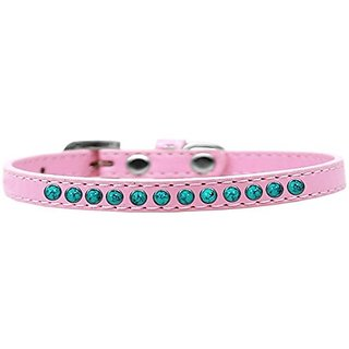 Mirage Pet Products Southwest Turquoise Pearl Light Pink Puppy Dog Collar, Size 8