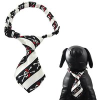 "Alfie Pet By Petoga Couture - Qun Formal Dog Tie And Adjustable Collar - Color: Black And White Stripe, Size: 13"" - 17.5"