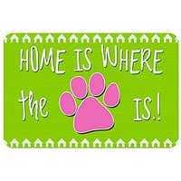 """Novelty Home Is Where The Paw Is Pet Feeder/Accent Mat, Lime, 18"""" X 27"""""""