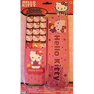 Hello Kitty Tin Case 12 Piece Eraser Set with Stickers