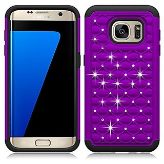 Galaxy S6 Edge Case Cover, 2 in 1 TPU + PC with Shiny Rhinestone Crystal Bling Slim shock absorber Cell Phone Case Rubbe