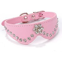 "Nugoo 13.8"" Pet Dog Cat Kittens Puppy Wear Adjustable Nice Pink Bow Tie Collar With Rhinestone (Pink)"