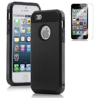 suchAcase Armor Defender Hybrid Silicone/PC Hard Back Case Skin for iPhone 5 + Free Screen Protector (Black)