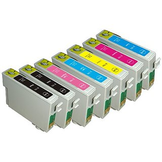 7 Pack Ink Cartridges for Stylus Photo R260, R280, R380, RX580, RX595, RX680, Artisan 50 (T078- BK, C, M, Y, LC, LM)