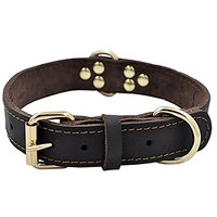 Techeer Genuine Leather Dog Collars For Medium And Large Dogs (Brown Color)