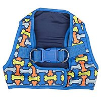 SimplyDog Print Vest Harness, Blue With Bone, Small