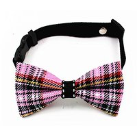 Adjustable Pet Dog Cat Leather Cashmere Denim Pink Tie S