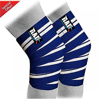 RAD 1 Pair Heavy Duty Knee Wraps For Power-lifting/Bodybuilding,Gym,Squatting and Cross Training WODs Blue & White Line