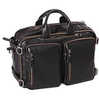 Leathario PU Leather Multifunction mens Backpack Messenger Bag
