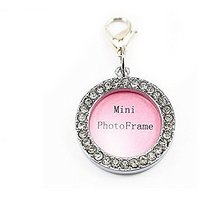 Fashion Pet Dog Cat Diamond Rhinestone Pendant Photo Frame Design Collar Tag Circle Style