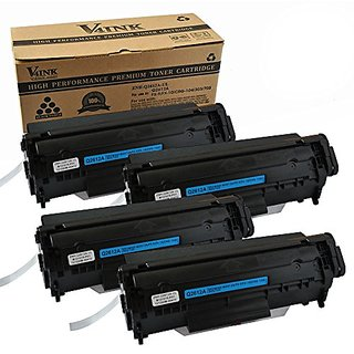 4 Pack V4INK New Compatible HP Q2612A(12A)/Canon 104/FX-9/FX-10 Toner Cartridge-Black