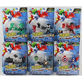 Set of 6: Marvel Avengers Super Hero Mashers Micro Series 3 Action Figures