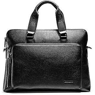 Teemzone Mens Genuine Leather Cross-body Shoulder Messenger Bag with Strap (Horizontal Black)