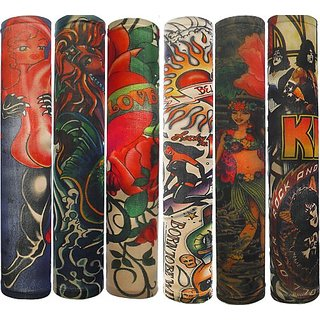 Efivs Arts Temporary Fake Tattoo Arm Sleeves Slip on Artwork Costume Stretch Nylon Men Women - 6 Pcs (Color H)
