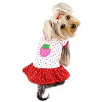 Adorable And Lightweight Dog Dress With Polka Dots And A Strawberry Patch Sizes: Medium