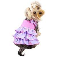 Elegant Shimmery Hearts Dog Ruffle Dress With Bow Sizes: Small