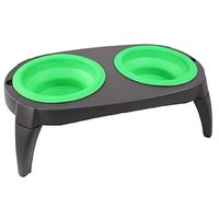 #1 Best Elevated Dog Bowls Collapsible Pet Feeder Bowls- Travel Dog Bowl Dog Feeder Dish Food Water Bowl, Washable, Non