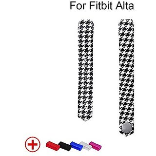 Geak Fitbit Alta Accessory Bands with Metal Clasp ( Random Color Secure Fasterner Rings for Free) Black Houndstooth Size