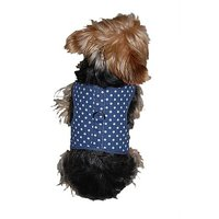 Anima Blue And White Polka Dot Harness With Leash Set, Small