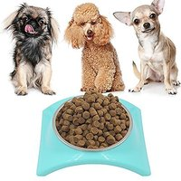 7.87x6.3 LW Pet Bowl,Dog Bowl,Linka Small Pet Bowl Stainless Steel Pet Feeder Arched Bowls Water Food Feeder Bowl-Blue