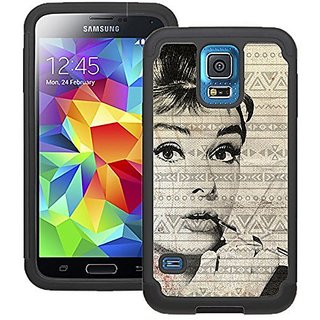 CorpCase Samsung Galaxy S5 Case - Audrey Hepburn Photo Vintage Aztec / Hybrid Unique Case With Great Protection