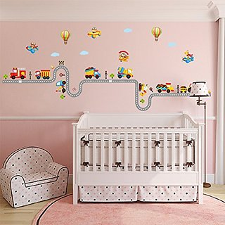 Gemini Fairy Cartoon Train Nursery Wall Stickers Wall Murals DIY Posters Vinyl Removable Art Wall Decals for Kids Boys G