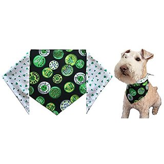 St. Patricks Day Dog Bandana -St. Patricks Shamrocks - Large - ties on a 14-20