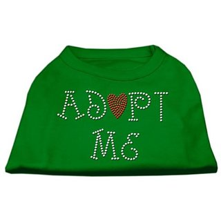 Mirage Pet Products 16-Inch Adopt Me Rhinestone Print Shirt for Pets, X-Large, Emerald Green