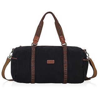 Hynes Eagle Unisex Classic Canvas Travel Duffel Bag 30 Liters (Black)