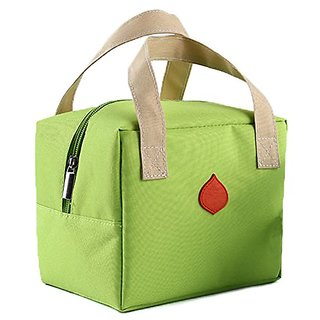 Ecokaki (TM) Three Layers Thermal Insulation Lunch Tote Lunch Bag Canvas Travel Picnic Handbag Snack Bag, Light Green