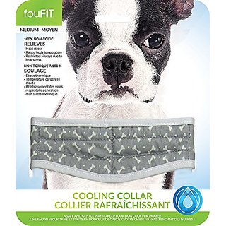 Gray Medium FouFit Extra Absorbent Cooling Collar for Dogs, 100% Non-Toxic Lightweight Material, Relieves Heat Stress An