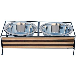 Indipets Wood & Iron Diner with Straight Line Design, 2 quart