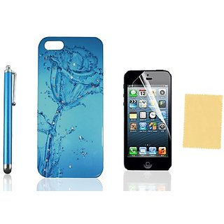 Nccypo Blue Splashing Water Flower Rose Bling Rhinestones Diamonds Hard Back Cover Case Compatible for iphone 5/ 5S, Inc